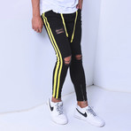 Skinny Jeans + Side Stripes // Black + Yellow (29WX29L)