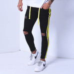 Skinny Jeans + Side Stripes // Black + Yellow (34WX34L)