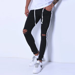 Skinny Jeans + Side Stripes // Black + White (31WX31L)