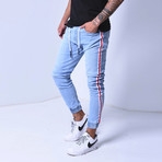Jogger Jeans + Side Stripes // Blue (30WX30L)
