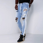 Distressed Jeans + Side Stripes // Blue (34WX34L)