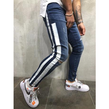 Striped Jeans + Ankle Zipper // Blue (29WX29L)