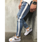 Ripped Jeans + Side Stripes // Blue + White (29WX29L)