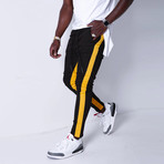 Jogger Jeans + Side Stripes // Black + Yellow (33WX33L)