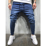 Jogger Jeans +Side Stripes // Blue, White (29WX29L)