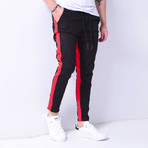 Jogger Jeans + Side Stripes // Black + Red (30WX30L)
