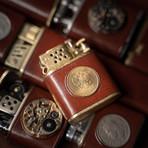 Golden Coin Flint Wheel Kerosene Lighter (Black)