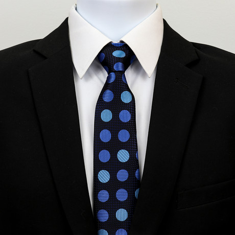 Silk Neck Tie + Gift Box // Metallic Blue Circles
