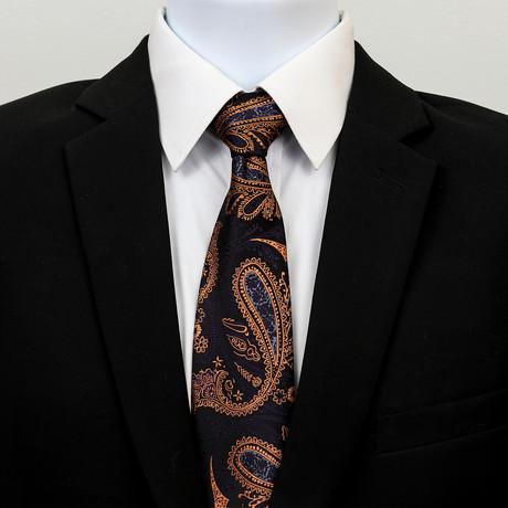 Silk Neck Tie + Gift Box // Black + Gold + Purple Paisley