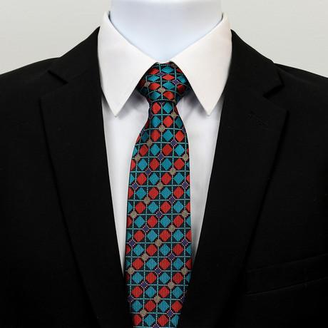 Silk Neck Tie + Gift Box // Multicolor Checkered Diamonds