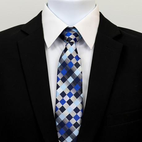 Checkered Gradient Silk Neck Tie // Blue + Black
