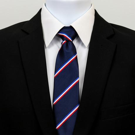 Silk Neck Tie + Gift Box // Blue + White + Red Stripe