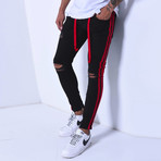 Skinny Jeans + Side Stripes // Black + Red (31WX31L)