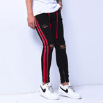 Skinny Jeans + Side Stripes // Black + Red (33WX33L)