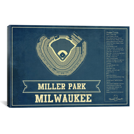 "Milwaukee Miller Park // Cutler West (26""W x 18""H x 0.75""D)"
