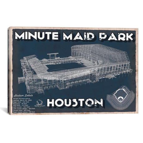 "Houston Minute Maid Park // Cutler West (26""W x 18""H x 0.75""D)"