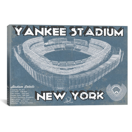 "New York Yankees Stadium Blue // Cutler West (26""W x 18""H x 0.75""D)"