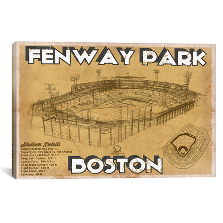 "Boston Fenway Park Brown // Cutler West (26""W x 18""H x 0.75""D)"