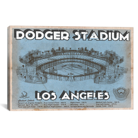 "Los Angeles Dodger Stadium Blue // Cutler West (26""W x 18""H x 0.75""D)"