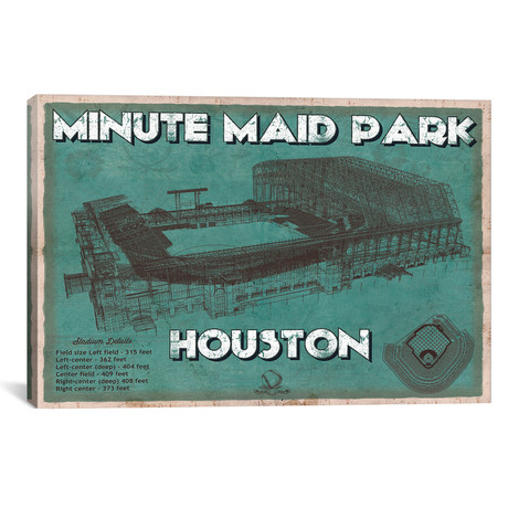"Houston Minute Maid Park Aqua // Cutler West (26""W x 18""H x 0.75""D)"