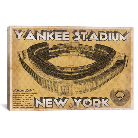 "New York Yankees Stadium Brown // Cutler West (26""W x 18""H x 0.75""D)"