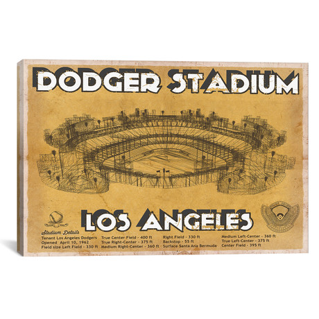"Los Angeles Dodger Stadium Brown // Cutler West (26""W x 18""H x 0.75""D)"