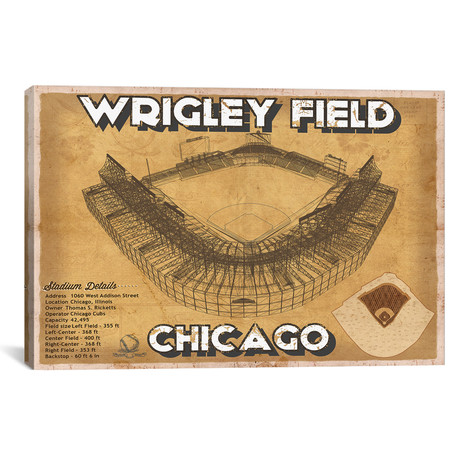 "Chicago Wrigley Field Brown // Cutler West (26""W x 18""H x 0.75""D)"
