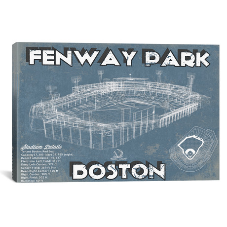 "Boston Fenway Park Blueprint // Cutler West (26""W x 18""H x 0.75""D)"