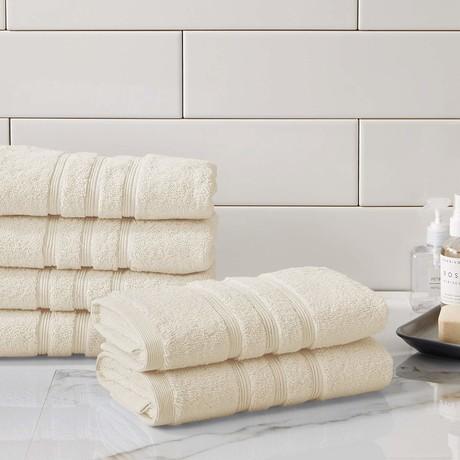 Manor Ridge Turkish Cotton 700 GSM // Hand Towels // Set of 6 (White)