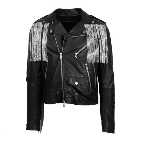Amiri // Leather Chain Fringe Biker Jacket // Black (XS)