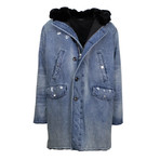 Amiri // Denim Rabbit Fur Parka // Blue (XL)