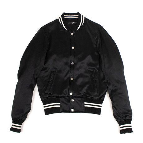 Amiri // Silk Baseball Bomber Jacket // Black (XS)