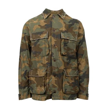 Amiri // Camo Distressed Studded Military Jacket // Green (XS)