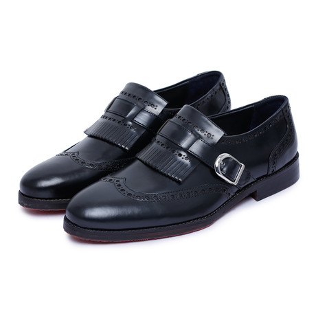 Wingtip Brogue Kiltie Loafers // Black (US: 8)