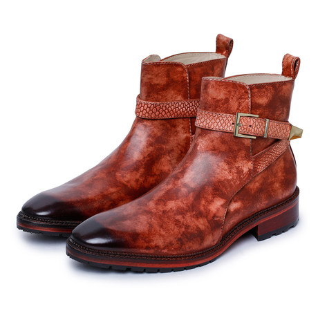 Cross Strap Boots // Reddish Brown (US: 8)