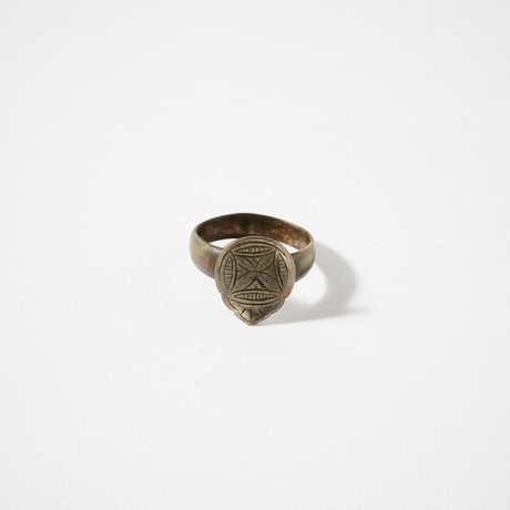 Byzantine Silver Ring With Cross