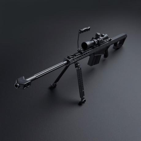 M82 1:4 Scale Diecast Metal Long Range Sniper Model Gun + Scope + Bipod // Black