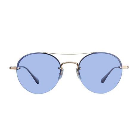 Unisex Beaumont Sunglasses // Gold Crystal + Blue
