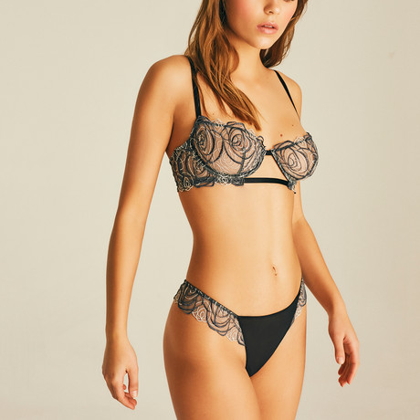 Spiral Lace Thong // Black (XS)