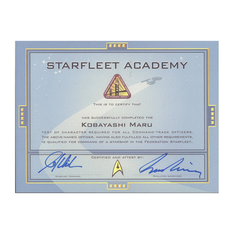 StarFleet Star Trek Certification