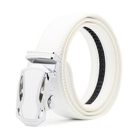 Ian Leather Automatic Belt // White + Silver