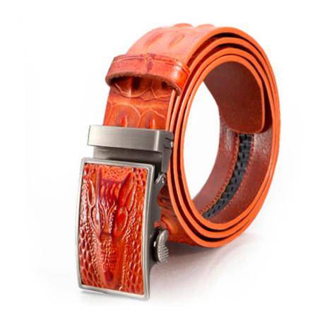 Keith Leather Automatic Belt // Orange Alligator
