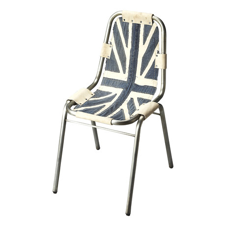 Union Jack Denim Side Chair