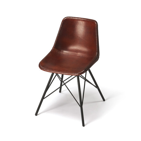 Alberta Brown Leather Side Chair