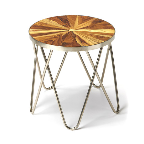 Harpin Iron + Wood End Table