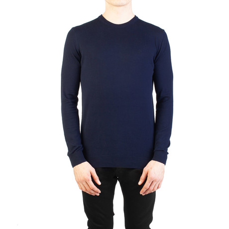 Embroidered Crewneck Sweater // Navy Blue (Small)