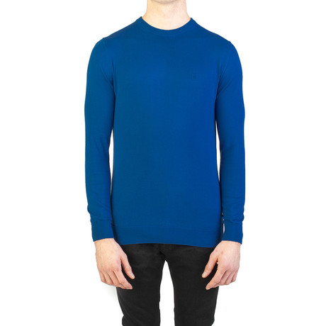 Embroidered Crewneck Sweater // Blue (Small)