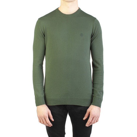Embroidered Crewneck Sweater // Green (Small)