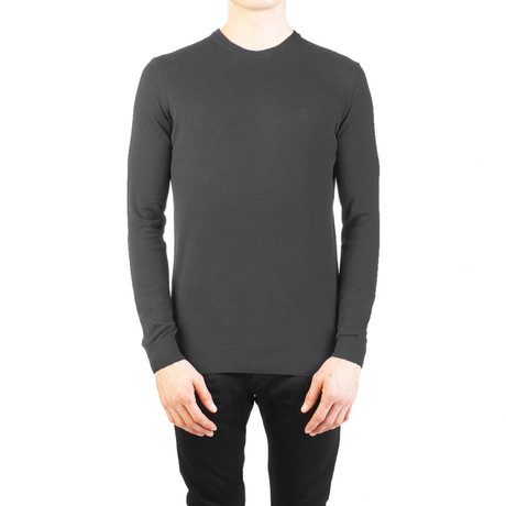 Embroidered Crewneck Sweater // Charcoal Gray (Small)