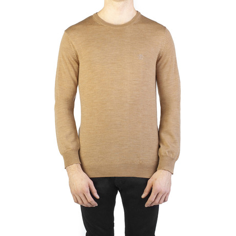 Virgin Wool Embroidered Crewneck Sweater // Brown (Small)